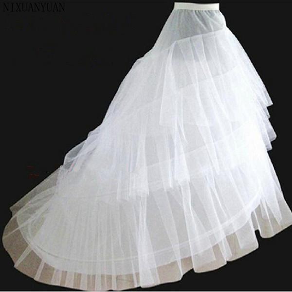 vendita all'ingrosso Sottoveste da sposa bianche 3 strati Cheap Women Underskirt jupon crinoline vestido longo