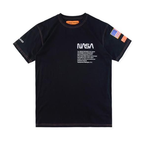 Heron Preston Nasa Tshirts USA Flag Embroidery Men Women Street Luxury Cotton Hoody Casual Short Sleeve T-Shirt Designer Tops