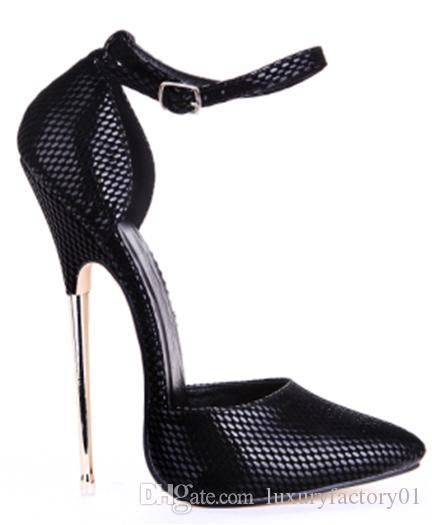 2016 Women Pumps 16cm Super Metal Thin High Heels Pumps Shoes For Women High Heel Sexy Party Wedding Shoes US Size 11 12 13 14 15