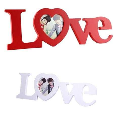 Wooden Love Photo Frame White Red Heart Shape For Picture New Baby And Sweet Lover Gift Home Decor Photo Frame Decoration