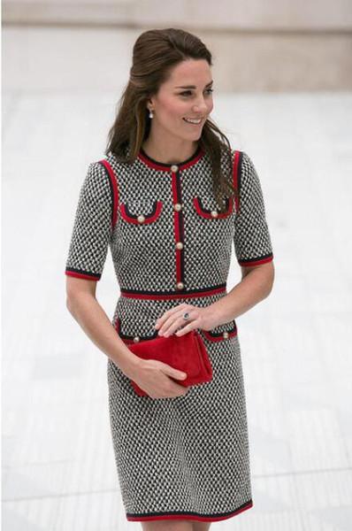 Kate middleton tweed mulheres dress vestidos de fio grosso houndstooth patchwork vestidos em torno do pescoço de manga curta slim dress feminino