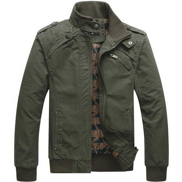 Herren Jacke Lässige Baumwolle gewaschene Mäntel Army Military Outdoors Stehkragen Oberbekleidung jaqueta masculina Mantel Parka Herren Jacken T5190617