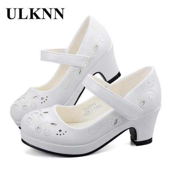 Ulknn Spring Autumn Girls Princess Shoes Leather Flowers Children High Heel Shoes For Girls Shoe Party Wedding Dress Kids Shoes Y19062001
