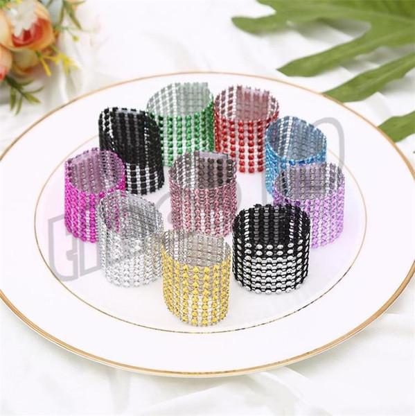 Nouveau 8 rangées de serviettes de table anneau de déduction de mariage table et chaises boucle en plastique net de forage décoratif serviettes de table I531