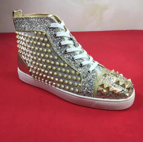 Sapatilhas de luxo spikes pregos pik pik toe rebites sapatilhas sapatos de fundo vermelho para as mulheres, homens de alta top casual andando homem moda festa ue 36-47