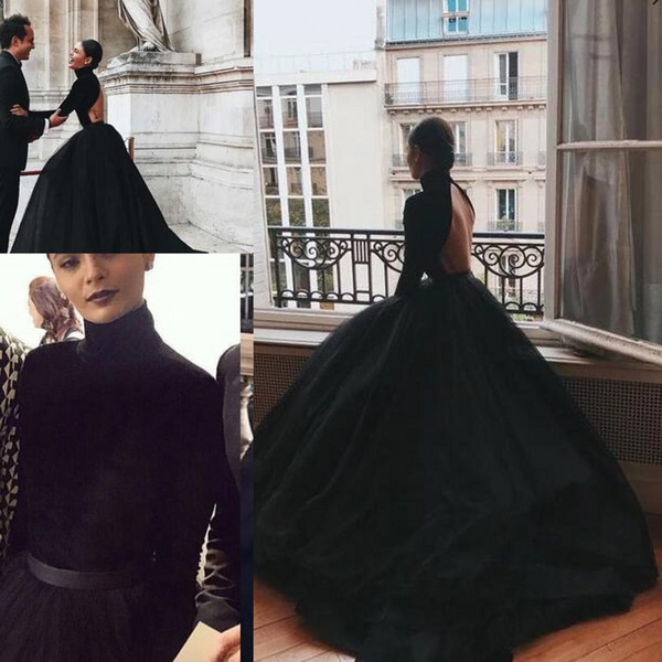 High Neck Black Ball Gown Prom Dresses with Long Sleeves 2020 Sexy Backless Stain Tulle Plus Size Occasion Evening Wear Dress