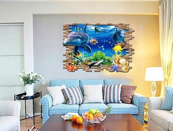 Romantic Sea World Metope Floor Sticker 3D Simulation Sea World Home Decor Decal for Decoration Bathroom Bedroom Living Room