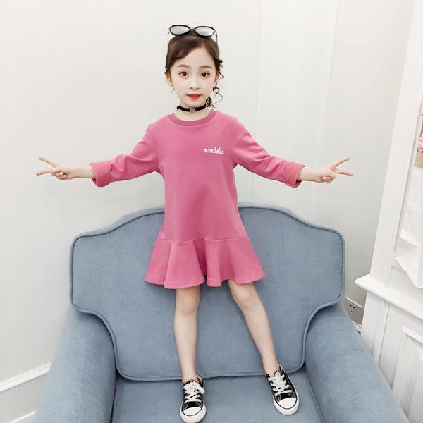 Girls Dresses Spring Autumn Long Sleeve T-shirt Fashion Knee-Length A-Line Solid Kids Dresses For Girls