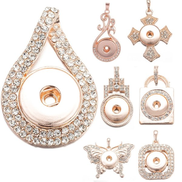 12 Styles Rose Gold Color Rhinestones NOOSA Ginger Snap Button Jewelry Snap Charms Necklace 18mm Pendant
