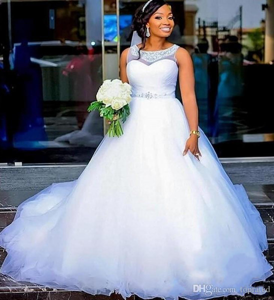 Discount Cheap Plus Size Wedding Dresses With Sheer Jewel Neck Silver Beads  Sash Puffy A Line African Bridal Dress Vestido De Noiva Wedding Gowns A ...