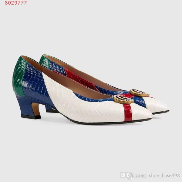 2019 new women dress shoes classical style White and meihs High-end custom High-end printed high-heeled shoes Delicate fashion