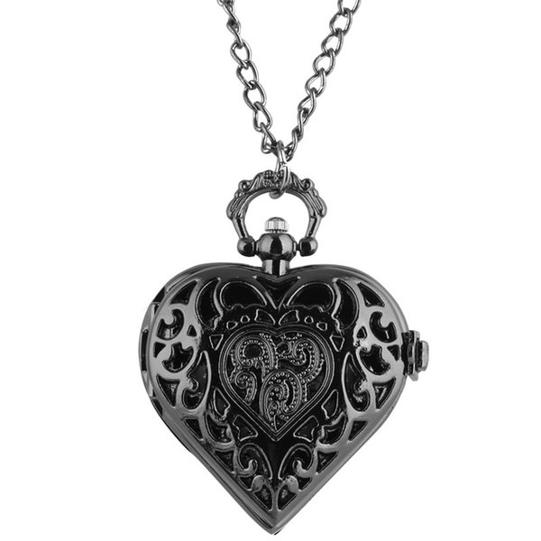Black/Silver/Bronze Hollow Heart Shape Quartz Pocket Watch for Ladies Women Girls Friend Clock Necklace Chain Birthday Gift