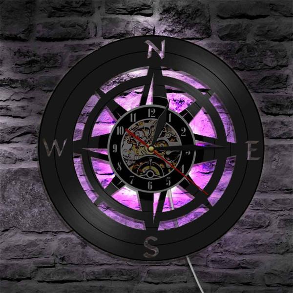 regalo di Compass arte della parete di disegno moderno Navy Home Decor LED Vinyl Record Orologio da parete Padre