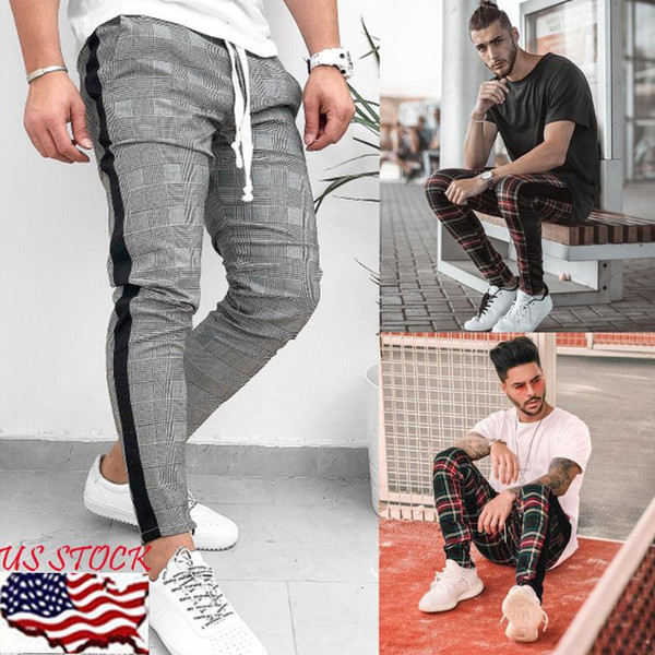 Hot Autumn New Scottish Plaid Mens Side Stripe Track Pants Checkered Joggers Long Pants Causal Sweatpants Streetwear Plus Size