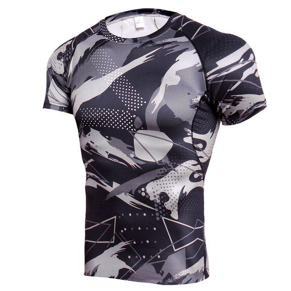 Brand Quick Dry Compression Men Short Sleeve T-Shirts Basketball Football Training T-shirt Gym Camo Sportswear Rashgard Male