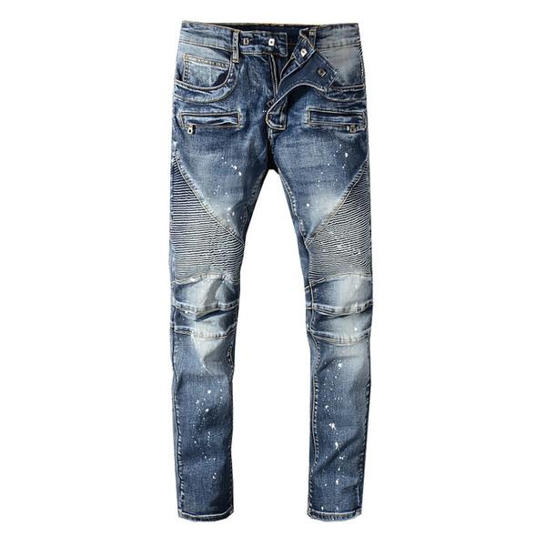 Sokotoo Herren Bikerjeans in Blau mit Falten für Motorräder Slim Fit plus Stretch-Jeanshose in Übergröße