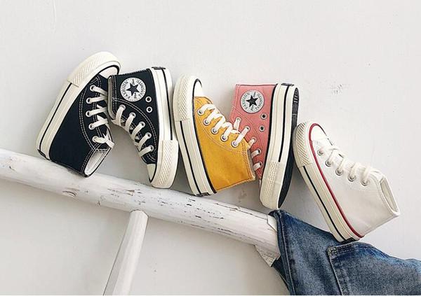 2019 осень новых детей высокого верха обуви холст мальчиков и девочек обувь Корейский высокой верхней ремень классические ботинки