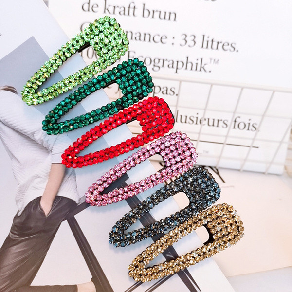 top popular Korea Chic Crystal Metal Hairpins Women Shiny Solid Color Rhinestones Waterdrop Shape Hair Clips Hair Accessories 2021