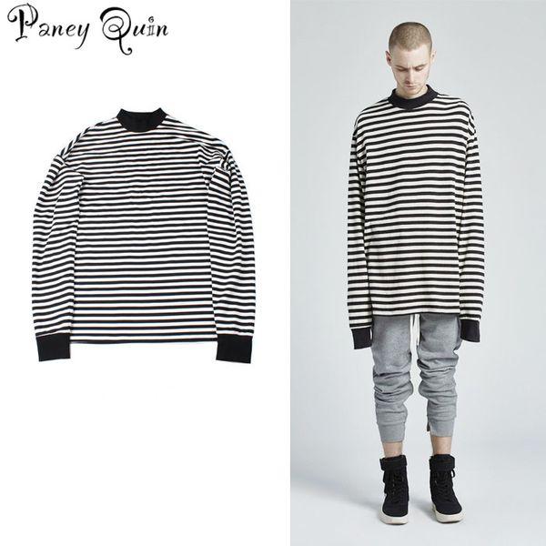 NEW T-Shirt Men Long Sleeve Black White Striped T-shirt Men Women Unisex Loose Oversize Extra Long Sleeve Couple T