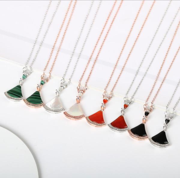 Blingbling bens De Luxo Prata esterlina, concha branca, saia de ágata, colar de saia em forma de leque, pingente de diamante cadeia para senhoras