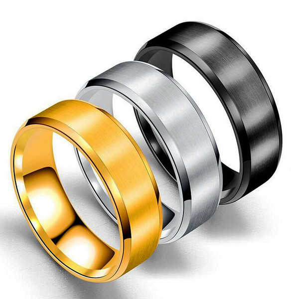 Stainless Steel Blank Ring Gold Black Matt Art Ring Band Rings Women Men Fashion Jewelry Will and Sandy Drop Ship 080402