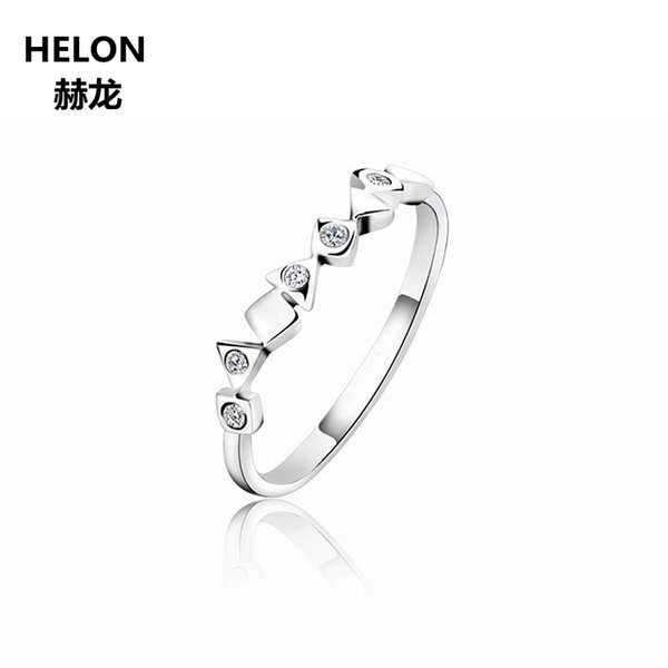 Solid 14k White Gold Engagement Wedding Ring Women SI/H Natural Diamonds Band Anniversary Party Fine Jewelry