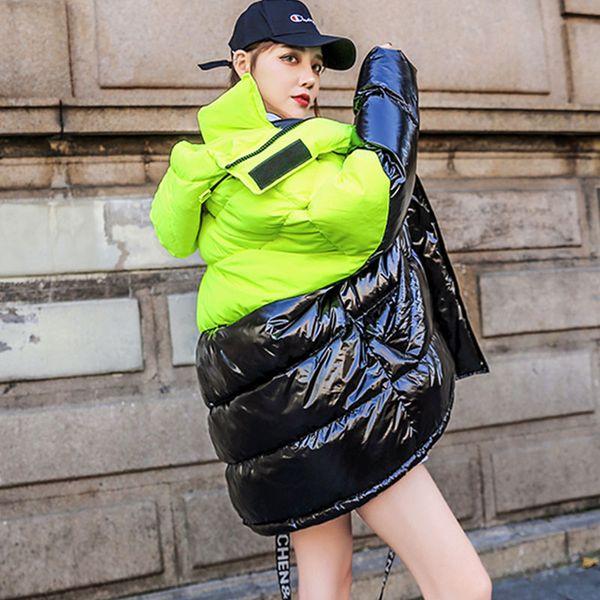 Acheter Surdimensionné D'hiver Doudoune Femmes Hit Couleur Épissure Longue Vêtements De Plein Air 2019 Nouvelle Série Chaud Femmes Hiver Parka