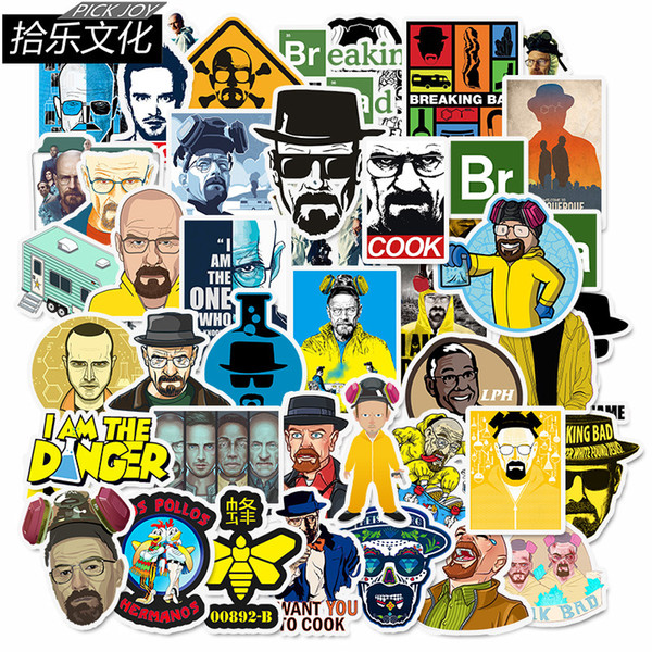 best selling 50 pcs lot Car Stickers Breaking Bad For Laptop Skateboard Pad Bicycle Motorcycle PS4 Phone Luggage Decal Pvc guitar Stickers