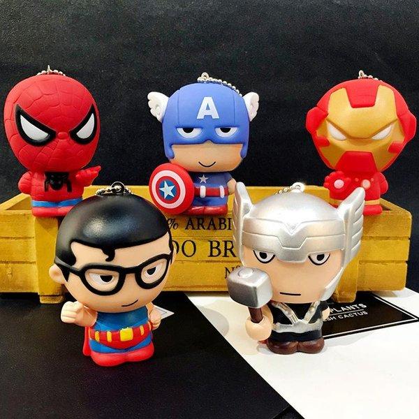 Cartoon Captain America Dolly porte-clés pendentif Creative Avengers League Iron Man Superman porte-clés en gros