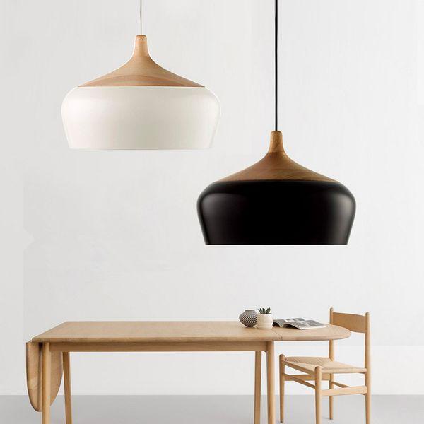 Großhandel Moderne Aluminium Eichenholz LED Pendelleuchten Lustre Weiß  Anhänger Lampe Nordic Küche Leuchte Restaurant Suspension Avize Von ...
