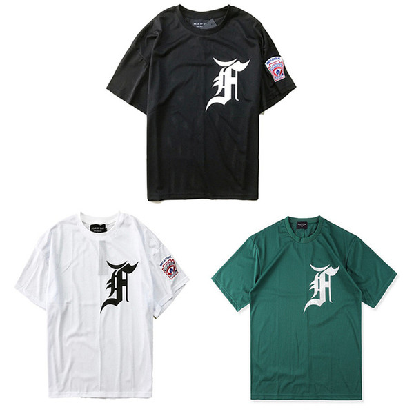 PAURA DI DIO BIG LEAGUE BASEBALL Lettere T-shirt Loghi Justin Bieber T-Shirt Filo di maglia Allentato PAURA DI DIO Ricamo Tee unisex