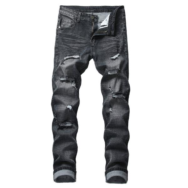 Marka Yeni Moda Erkek Tasarımcı Kot Erkek Delik Ince Kendini yetiştirme Streç Kot Siyah Tasarımcı Yüksek Kaliteli Kot