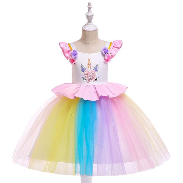 Unicorn girls dresses kids designer clothes girls Princess Dresses birthday party lace Childrens Dresses kids clothes kids clothing A3196