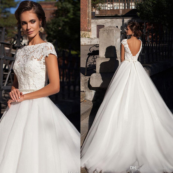 intage Wedding Dresses Bateau Neck Cap Sleeved A Line Top Lace Illusion Pearl Sashes Sweep Train Backless Formal Plus Size Bridal Gown