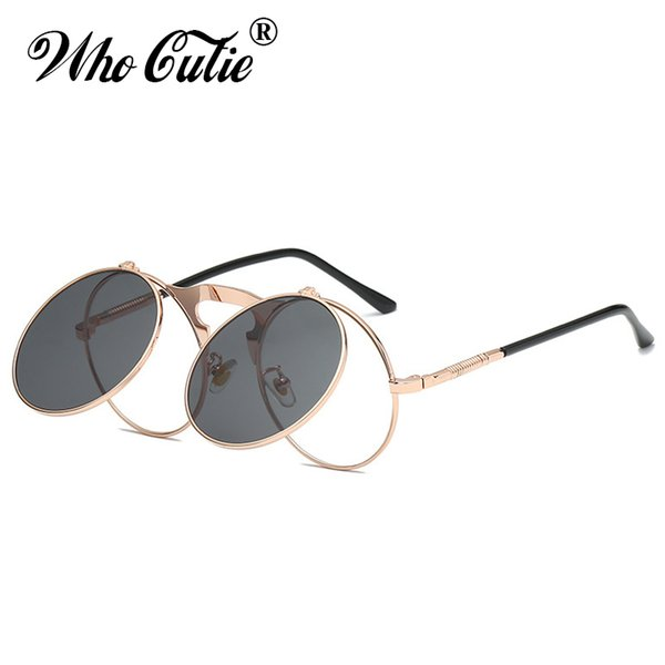 WHO CUTIE Round Sunglasses Men Steampunk Goggles 2019 Brand Designer Flip up lens Gothic Frame Sun Glasses Clip on Shades OM844