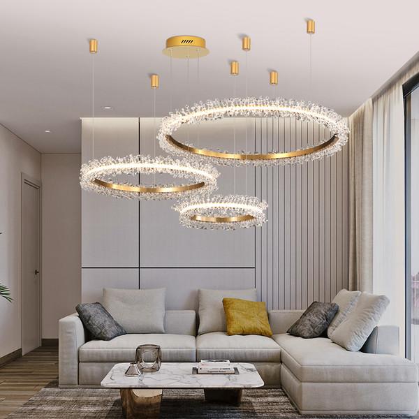 Cristal Lámpara creativa de oro Anillos redondos Combinación cristalina de las lámparas LED de lujo para la sala dormitorio de la lámpara colgante Negro