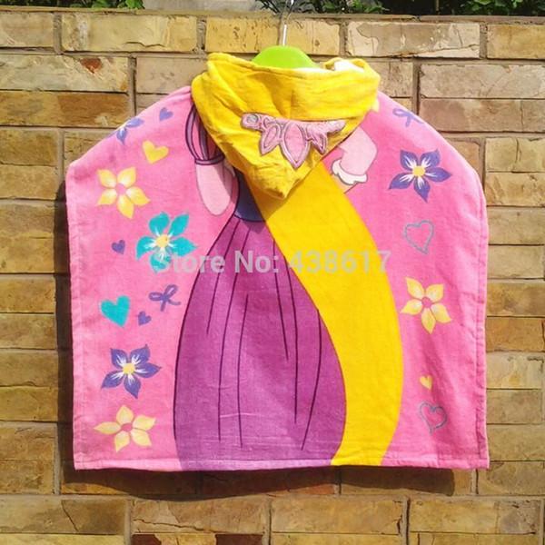 Al por mayor libre de envío al Tangled Rapunzel Princesa muñeca con capucha de baño toalla de playa del Cap de dibujos animados corona 100% algodón toallas de baño para niños