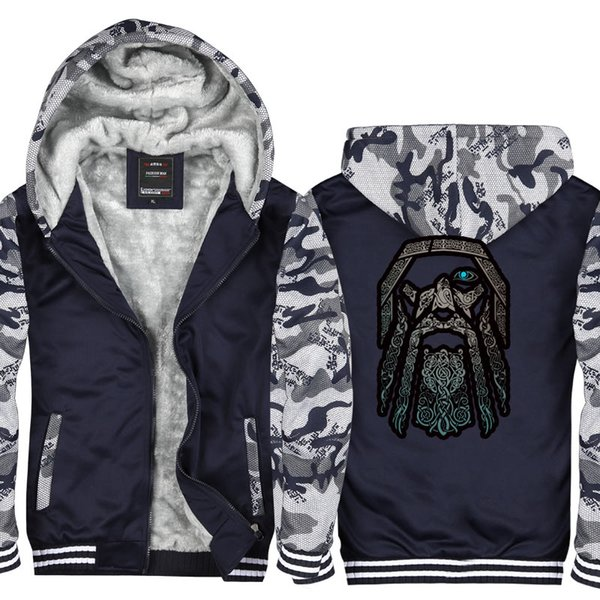 online store f9b19 0e585 2019 Camouflage Men Casual Thicken Hooded Sweatshirts Odin Vikings Vintage  Print Cotton Zipper Hoodies Winter Cardigan Jacket USA EU Size From ...