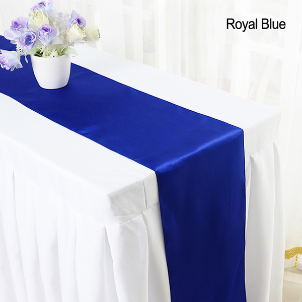 top popular YRYIE 10pcs pack 30*275cm Cheap Modern Green Pink Satin Table Runner Cloth Red For Home Party Wedding Table Decoration 2021