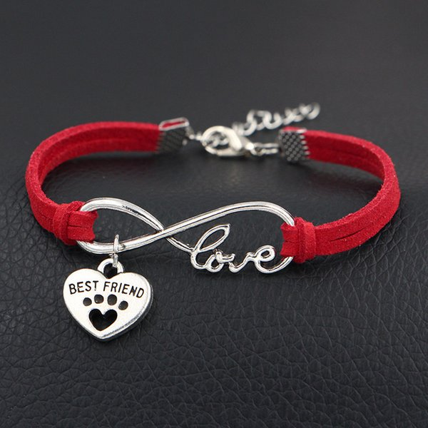 Single layer Red Leather Suede Antique Silver Infinity Love Dog Paw Prints & Best Friends Heart Bracelets Original Design Women Men Jewelry