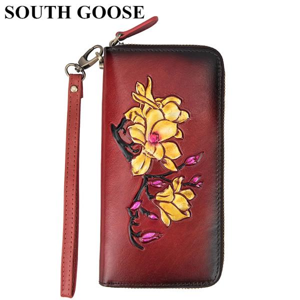 SOUTH couro genuíno Mulheres feminina carteira de luxo Carteira longa Clutch Bag Flor Cartão Coin Purse Embossing Lady Handy Viagem