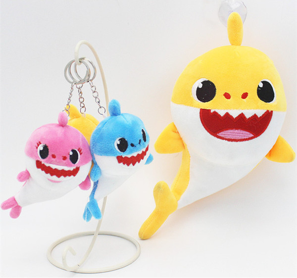 10CM BABY SHARK Hanging keychain Accessories 4inch Pendant Toy Cartoon Plush&Stuffed Doll Toy 4'' Kids Party Favor Home Car Bag Decor Blue
