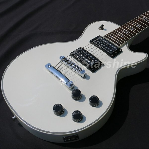 Guitare électrique à 7 cordes YL-7EW Lp Style Finition Blanche Grover Tuner T-O-M pont Personnalisé Guitare Électrique