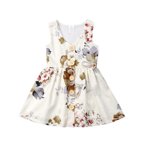 Pulsante 1-6years del bambino del fiore delle ragazze del vestito del partito dei capretti Pageant Abiti Tutu