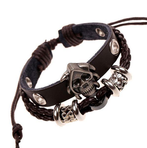 Festival Gift Genuine Leather Human Skeleton Head Yiwu Small Ornaments Men And Women Weave Cowhide Bracelet