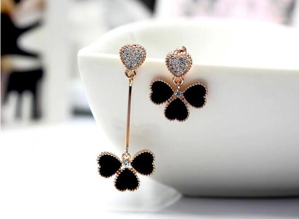 Frauen Unregelmäßige Herz Ohrringe Schwarze Blume Hängen Anhänger Ohrstecker Charme Baumeln Ohr Tropfen Modeschmuck Party Geschenke
