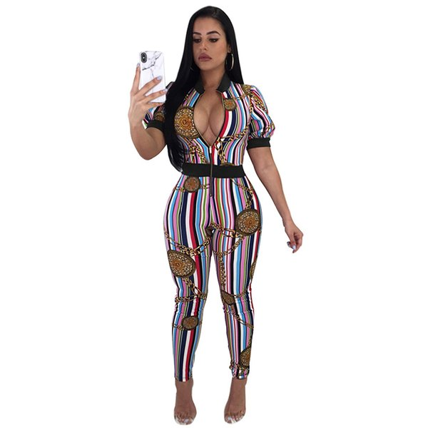 b8ac28bd9f2 Jumpsuits for Women 2018 Hot Elegant One Piece Sexy Golden Chain Print  Multi Striped Rompers Deep V Neck Short Sleeve Threshold Zipper