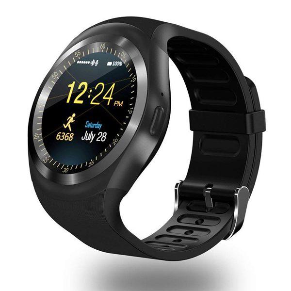 Relojes digitales Y1 Bluetooth Smart Watch Pulsera de pulsera para hombre con ranura para tarjeta SIM para teléfonos Android IPS Resistente al agua redonda