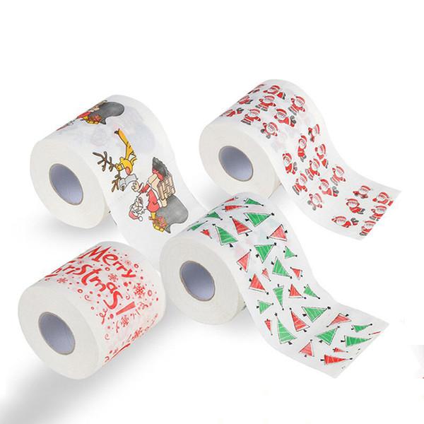 best selling Merry Christmas Toilet Paper Creative Printing Pattern Series Roll Of Papers Fashion Funny Novelty Gift Eco Friendly Portable Free DHL