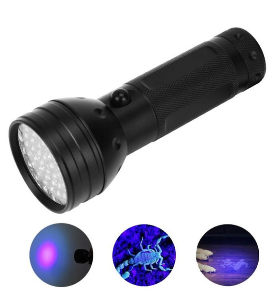 High power purple light flashlight 51 Lamp bead Cree led violet UV flashlights torch super bright best hunting lamps aluminium alloy Torch